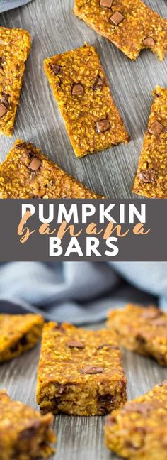 Pumpkin Banana Breakfast Bars - Deliciously moist and chewy soft-baked bars that are loaded with pumpkin and banana flavour, and full of chocolate chips. A perfect breakfast or on-the-go snack! Pumpkin Granola, Vegan Pumpkin, Healthy Pumpkin, Baked Pumpkin, Breakfast Bars Healthy, Perfect Breakfast, Breakfast Recipes, Recipes With Bananas Breakfast, Breakfast Bar Food