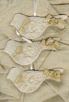 Dove ornaments with lace.  No directions, but good idea.