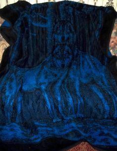 Vintage San Marcos Blanket Azul Blue Lobos Wolves 60 x 86
