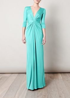 ISSA Gathered front full-length dress