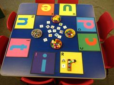 Use small objects to trace over the letters - letter recognition and formation. Match the sounds and pictures. Teaching Letters, Teaching Phonics, Preschool Letters, Kindergarten Literacy, Early Literacy, Name Writing Activities, Phonics Activities, Eyfs Classroom, Classroom Displays