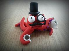 Dee Raa Arts polymer clay Cuthbert the posh octopus squid fimo sculpey miniature tea coffee teapot