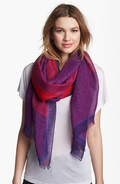 Tory Burch 'Halland' Scarf | Nordstrom love the rich purples with pops of red.