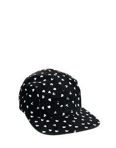 Image 2 ofConverse Five Panel Cap in All Over Heart Print