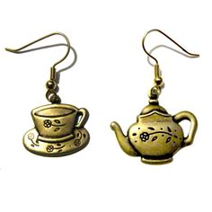 Tea Pot Cup Alice Wonderland Solid Brass Retro Goth Steampunk Earrings Costume #Unbranded