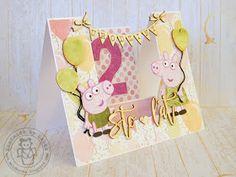 Witajcie!   Dziś chciałabym Wam pokazać kilka projektów dla dzieci.   Pierwszy projekt to schodkowa kartka na drugie urodziny mojej córki...
