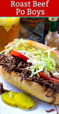 Roast Beef Debris- this savory braised meat is perfect for making a New Orleans Po Boy Sandwich. It has tons of juicy, garlicky flavor. Cajun Recipes, Meat Recipes, Cooking Recipes, Meat Meals, Hamburger Recipes, Appetizer Recipes, Recipies, Dinner Recipes, Skillet Chicken Parmesan