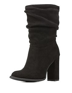 Slouchy Chunky Heel Mid-Calf Boots