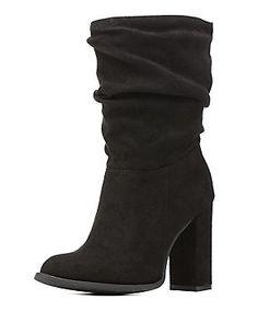 Slouchy Chunky Heel Mid-Calf Boots
