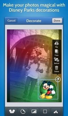 Over 100 new decoration items including character poses and stickers as well as Disney Parks and attraction themed filters and frames.    Click here to download:   Apple http://di.sn/r5r  Android: http://di.sn/p6K