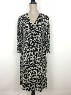 Apt 9 Black White Geometric Abstract Squares Stretch Wrap Dress M 3 4 Sleeve | eBay