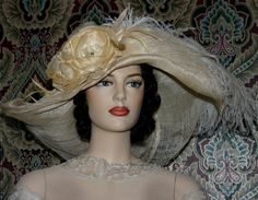 """Kentucky Derby Hat Edwardian Hat Downton Abbey Hat """"Picture Perfect"""" One of a Kind - Beige & Ivory Hat"""