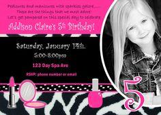 Spa Birthday Party Invite Girl Birthday Party by JRCreativeDesigns, $17.99