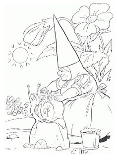 david the gnome, : David the Gnome Wife Lisa Wash Snail House Coloring Pages