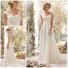 Wholesale Wedding Gowns - Buy Gorgeous Illusion Lace Cap Sleeve V Neck Backless Chiffon Long Beach Wedding Gown Garden Bridal Dresses 1118B, $160.0 | DHgate