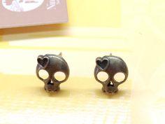 Steampunk Brass Skull Head Post Ear Stud Earrings by AccessoriesG, $0.20