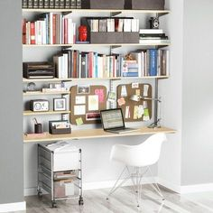 The Container Store > Zebrawood & Platinum elfa Home Office Shelving. a shelf as a desk! Elfa Shelving, Office Shelving, Office Shelf, Wall Shelving, Door Shelves, Shelving Ideas, Door Storage, Shelf Ideas, Space Saving Desk