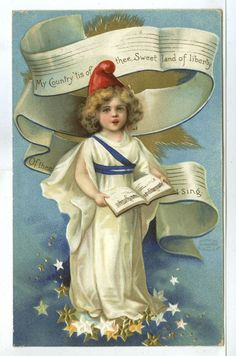 "Embossed, Beautiful Young Girl, ""My Country 'tis of thee, Sweet Land of Liberty"" picclick.com"