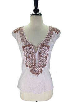 J. Crew size Small Embroidered Light Pink Peasant Top #JCrew #PeasantTop #Casual