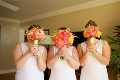 Pink and orange wedding bouquets by Country Bouquets Maui - Anna Kim Photography
