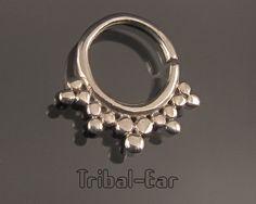 Septum nose ring plain silver piercing ethnic handmade jewelry earrings Tribal Ear 022 de la boutique TribalEar sur Etsy