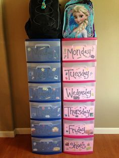 Stole this from Facebook. I've still got a year before my little man has to go to school but anything to make it easier. A whole week of outfits and a place for their shoes and backpack.