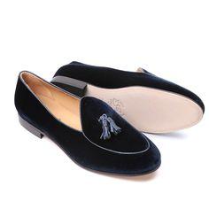 Men's Navy Velvet Italian Loafer With Navy Nappa Leather Tassel - Slipper - Men's