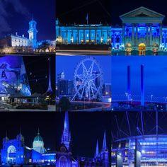 Collage of Melbourne landmarks lit blue