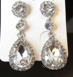 Silber Träne Ohrringe Braut Ball 1920er Jahre Great Gatsby Strass Fallende