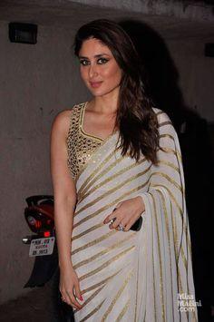 Saif & Kareena snapped at Mehboob Studio - Bollywood On The Sets Kareena Kapoor Sari Blouse Designs, Saree Blouse Patterns, Bollywood Celebrities, Bollywood Fashion, Bollywood Actress, Bollywood Style, Indian Attire, Indian Wear, Indian Style