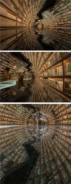 Yangzhou Zhongshuge bookstore in Zhen Yuan, China // optical illusion architecture // mirrored floor