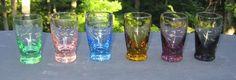 Vintage Colorful Etched Art Deco Shot Glasses Voss Bottle, Water Bottle, Shot Glasses, Drink Recipes, Shots, Art Deco, Colorful, Vintage, Ebay