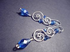 Spiral earrings in Royale blue and Silver Wire Wrapped by Juditta