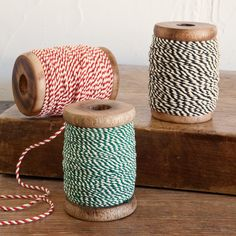 BAKER'S CORD, SET OF 3 -- Colorful two-ply cotton string on oversized, old-fashioned wooden spools recalls the good ol' days of brown paper packages and bakery boxes. Pearl pin stops. 54 yards of each color. Exclusive. Set of 3.