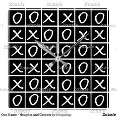 Oxo Game - Noughts and Crosses Square Wall Clock Crosses, Fun Stuff, Clock, Game, Design, Fun Things, Watch, Clocks