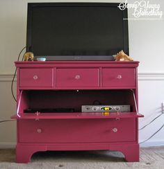 Dresser repurposed as TV console Used Dressers, Dresser With Tv, Dresser Tv Stand, Furniture Projects, Furniture Makeover, Home Projects, Diy Furniture, Entertainment Room, Tv Stands