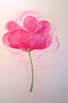 Hot Pink Peony Water Color Painting - Original Flower Painting. $20.00, via Etsy.