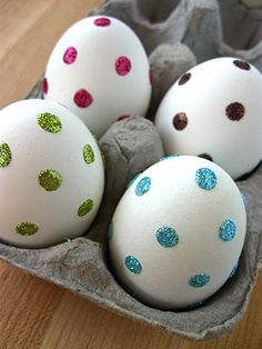 Sparkly dot Easter eggs