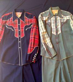 vtg PAIR Hollywood  Nathan Turk western cowboy shirt & pants sets