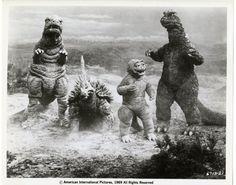 Gorosaurus, Anguirus, Minilla, & Godzilla in Destroy All Monsters.