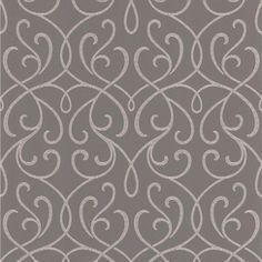 Decorline Papier peint au motif de volutes gris