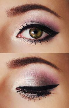 Purple, champagne + winged black liner.