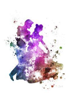 Cenicienta bailando con ilustración de príncipe encantador arte imprimir, Disney, princesa, Home Decor, vivero