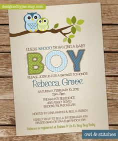 Baby Boy Shower Invitation Owl  Owls Invitation  by DesignedByJae, $13.00.... This lady is out of Ann Arbor and I have choosen these invited for our shower!
