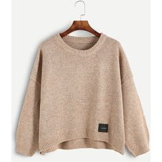 Dropped Shoulder Seam Dip Hem Patch Sweater (186.235 IDR) ❤ liked on Polyvore featuring tops, sweaters, khaki, sweater pullover, khaki sweater, drop-shoulder tops, long sleeve pullover and long sleeve sweater