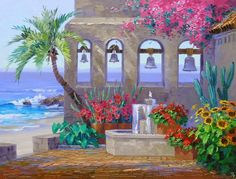 (usa) Santorini of Greece by Mikki Senkarik ). Canvas And Cocktails, Tuscany Landscape, Acrylic Painting Tutorials, Beautiful Paintings, Art And Architecture, Pretty Pictures, Painting Inspiration, Cute Art, Watercolor Paintings