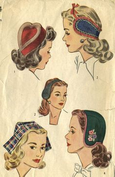 Vintage Simplicity 4924 Misses Set of Hats, Heart Shaped Pill Box, Ear Warmers, Cap Size Medium Style I, a heart-shaped hat has a contrasting Vintage Ladies, Retro Vintage, Vintage Hats, Retro Fashion, Vintage Fashion, Trendy Fashion, Fashion Tips, Fascinator Diy, 1940s Hats