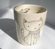 Handmade Ceramic Cup - Cat and Scarf Cup $26.00