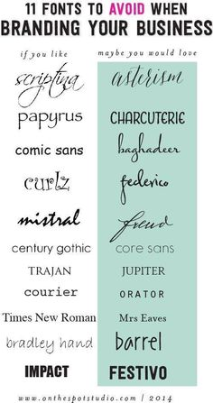 """Not sure why these are """"fonts to avoid,"""" but I like the alternative options."""