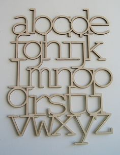 WOOD ALPHABET. $50.00, via Etsy.  VERY cool. Use similar format for Silhouette labels around kitchen, tool.